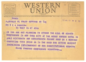 Thumbnail of Telegram from Bill of Rights Conference to W. E. B. Du Bois
