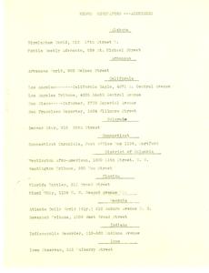 Addresses of Negro newspapers