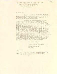 Thumbnail of Circular letter from Conference Committee to W. E. B. Du Bois