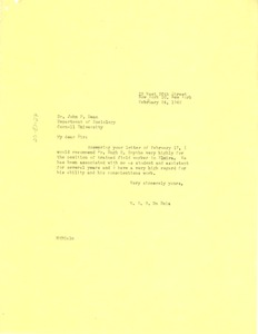 Thumbnail of Letter from W. E. B. Du Bois to Cornell University Department of Sociology