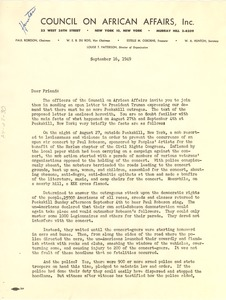 Thumbnail of Circular letter from Council on African Affairs to W. E. B. Du Bois