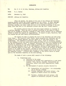 Thumbnail of Memorandum from Council on African Affairs to W. E. B. Du Bois