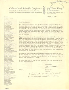 Thumbnail of Letter from Cultural and Scientific Conference for World Peace to W. E. B. Du Bois