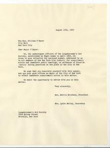 Thumbnail of Letter from Longshoremen's Aid Society to Hon. William O'Dwyer