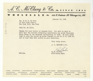 Thumbnail of Letter from A.C. McClurg & Co. to W. E. B. Du Bois