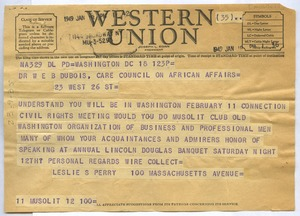 Thumbnail of Telegram from Mu-So-Lit Club to W. E. B. Du Bois