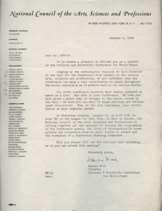 Thumbnail of Letter from National Council of the Arts, Sciences and Professions to W. E. B. Du Bois