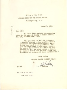 Thumbnail of Letter from United States Supreme Court to W. E. B. Du Bois