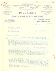 Thumbnail of Letter from Pan African Federation to W. E. B. Du Bois