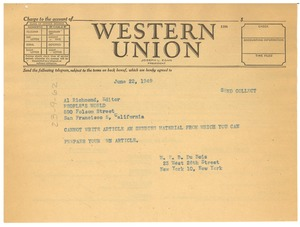 Thumbnail of Telegram from W. E. B. Du Bois to People's Daily World
