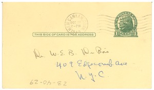 Thumbnail of Postcard from Martha and Alfred Stern to W. E. B. Du Bois