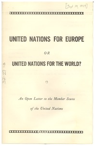 Thumbnail of United Nations for Europe or United Nations for the World?