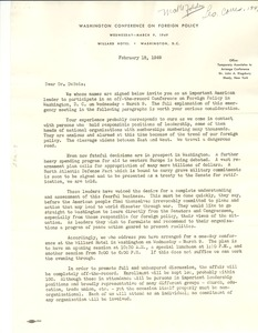 Thumbnail of Letter from Washington Conference on Foreign Policy to W. E. B. Du Bois