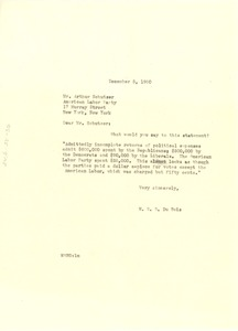 Thumbnail of Letter from W. E. B. Du Bois to American Labor Party
