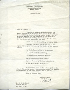 Thumbnail of Letter from Association for the Study of Negro Life and History to W. E. B. Du Bois