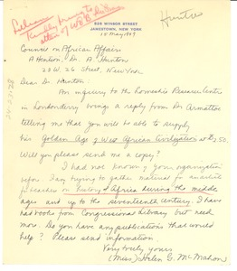 Thumbnail of Letter from Helen G. McMahon to Council on Africa Affairs