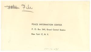 Thumbnail of Peace Information Center reply envelope