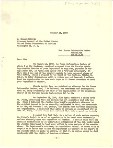 Thumbnail of Letter from Peace Information Center to United States Attorney General