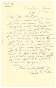 Thumbnail of Letter from George A. Tuttle to W. E. B. Du Bois