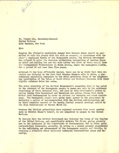 Thumbnail of Letter from W. E. B. Du Bois, Paul Robeson, and W. A. Hunton to United Nations
