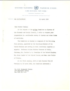 Thumbnail of Letter from United Nations Division of Human Rights to W. E. B. Du Bois