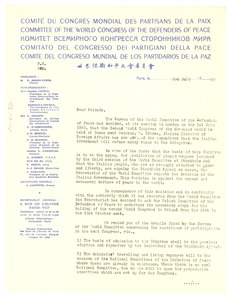 Thumbnail of Circular letter from World Peace Congress
