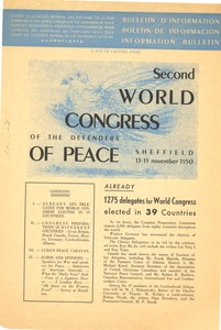Thumbnail of Second World Congress of the Defenders of Peace bulletin