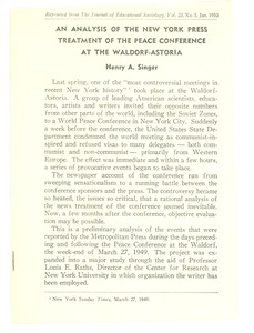 Thumbnail of An  Analysis of the New York Press treatment of the Peace Conference at the             Waldorf-Astoria