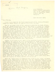Thumbnail of Circular letter from African National Congress to W. E. B. Du Bois