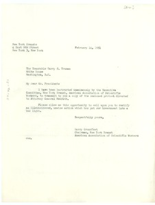 Thumbnail of Letter from American Association of Scientific Workers to President Harry S.             Truman