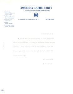 Thumbnail of Circular letter from American Labor Party to unidentified correspondent