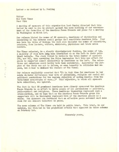 Thumbnail of Letter from American Peace Crusade to New York Times