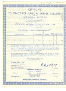 Thumbnail of Certificate of contract for surgical expense indemnity
