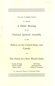 Thumbnail of Invitation from National Spiritual Assembly of the Bahá'ís of the United States             and Canada to W. E. B. Du Bois