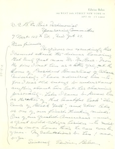 Thumbnail of Letter from Edwine Behre to W. E. B. Du Bois Testimonial Dinner Committee