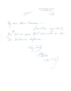Thumbnail of Letter from Frances Downes Behre to National Committee to Defend Dr. W. E.             B. Du Bois & Associates