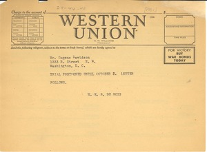 Thumbnail of Telegram from W. E. B. Du Bois to Eugene Davidson