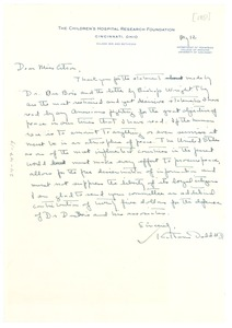 Thumbnail of Letter from Katharine Dodd to National Committee to Defend Dr. W. E. B. Du Bois and Associates in the Peace Information Center