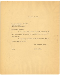 Thumbnail of Letter from W. E. B. Du Bois to Arna Bontemps