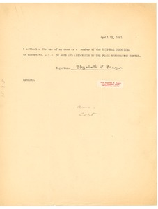 Thumbnail of Letter from Elizabeth P. Frazier to National Committee to Defend Dr. W. E. B. Du Bois and Associates in the Peace Information Center