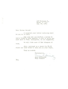 Thumbnail of Letter from Anne Lifschutz to National Committee to Defend Dr. W. E. B. Du Bois and Associates in the Peace Information Center