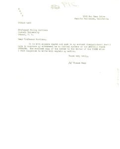 Thumbnail of Letter from Thomas Mann to Philip Morrison