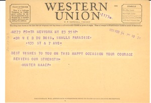 Thumbnail of Telegram from NAACP Hunter College Chapter to W. E. B. Du Bois