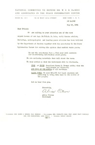 Thumbnail of Circular letter from National Committee to Defend Dr. W. E. B. Du Bois and Associates in the Peace Information Center