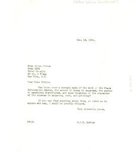 Thumbnail of Letter from W. E. B. Du Bois to Alice Citron