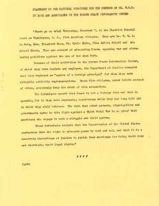Thumbnail of National Committee to Defend Dr. W. E. B. Du Bois and Associates in the Peace             Information Center press release