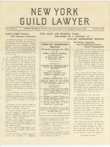 Thumbnail of New York Guild Lawyer volume 9, number 2