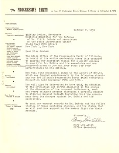 Thumbnail of Letter from Progressive Party of Illinois to National Committee to Defend Dr. W. E. B. Du Bois and Associates in the Peace Information Center