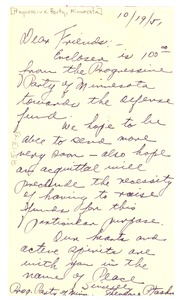 Thumbnail of Letter from Progressive Party of Minnesota to National Committee to Defend Dr. W. E. B. Du Bois and Associates in the Peace Information Center
