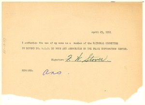 Thumbnail of Form letter from F. W. Stover to National Committee to Defend Dr. W. E. B. Du Bois and Associates in the Peace Information Center